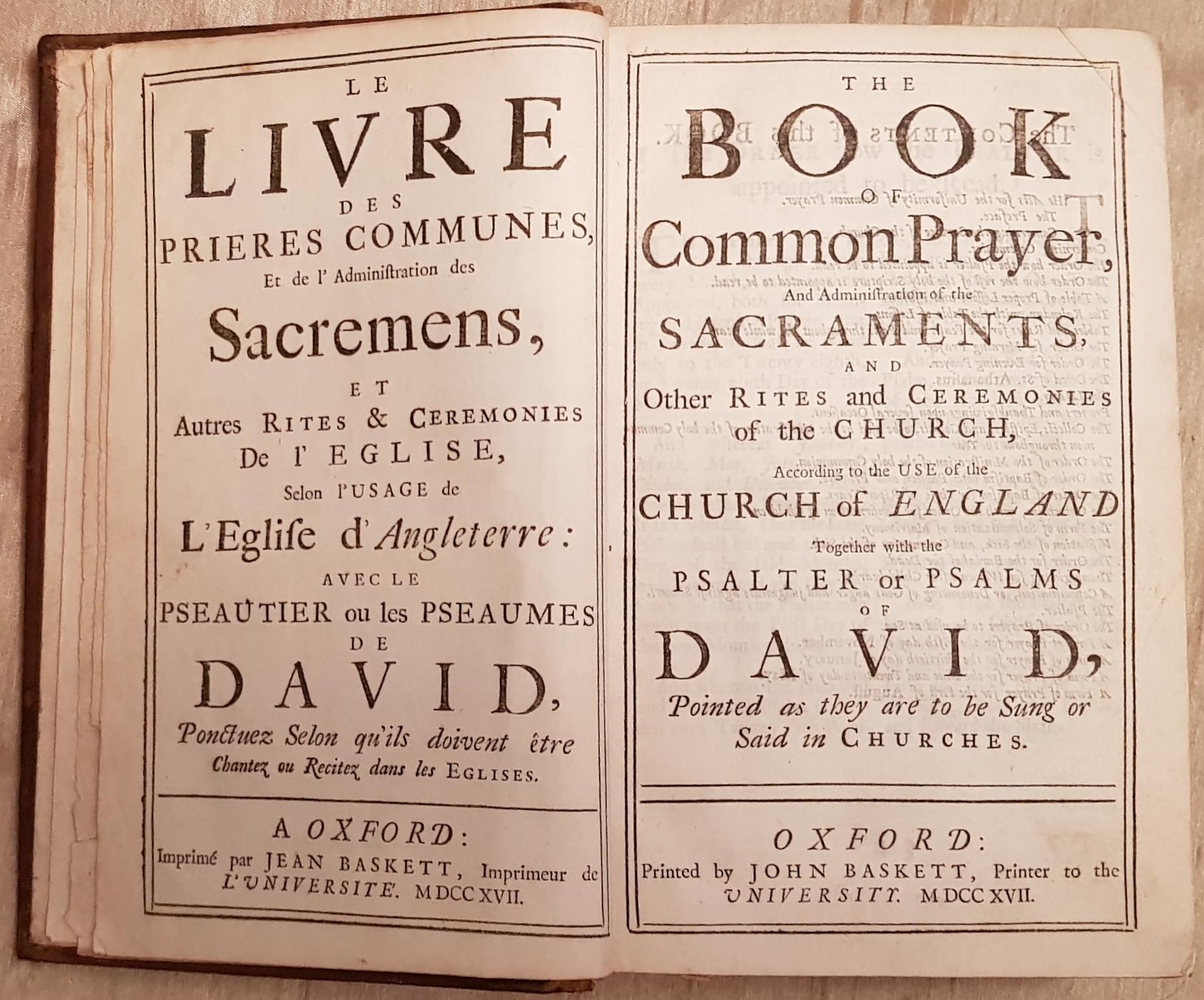 Image for The Book Of Common Prayer, And Administration of the Sacraments... / Le Livre Des Prieres Communes, Et de l'Administration des Sacramens... / A New Version of The Psalms Of David...