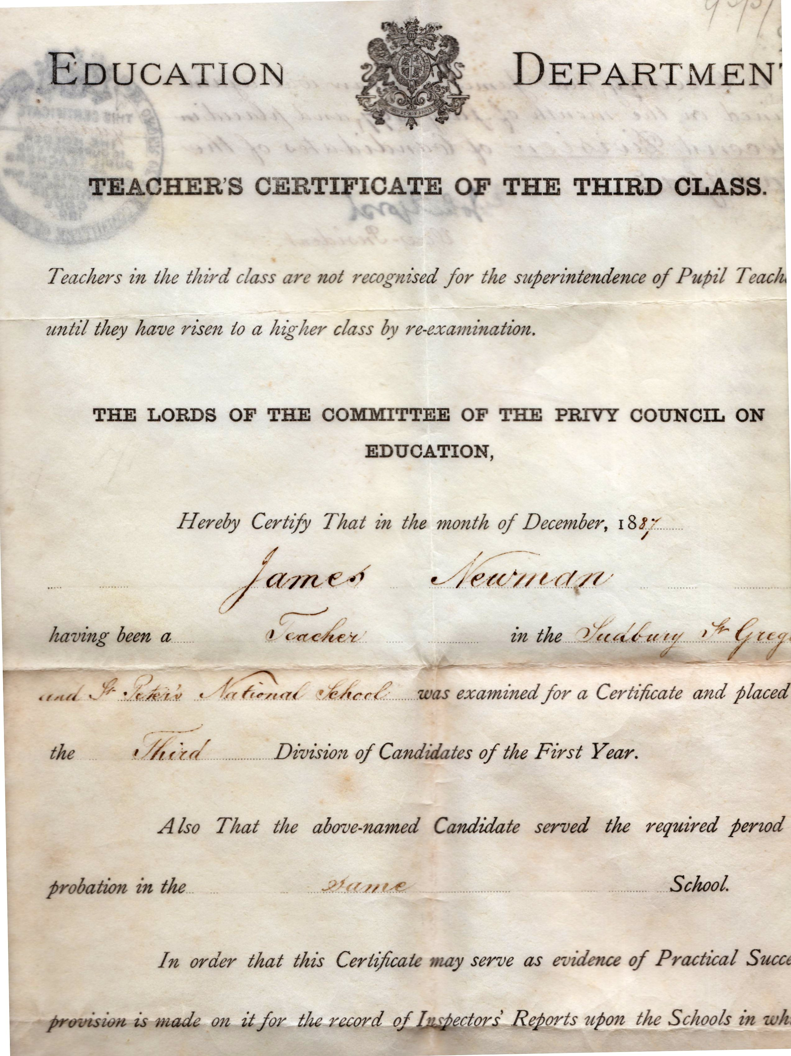 Image for Teacher's Certificate Of The Third Class. James Newman a Teacher in the Sudbury, St Gregory and St. Peter's National School