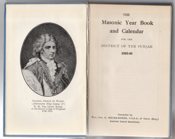 Image for The Masonic Year Book And Calendar For The District Of The Punjab 1935-36 .  Compiled by Wor. Bro. G. Reeves-Brown, P.A.G.D. of Cerm. (Eng.) District Grand Secretary .