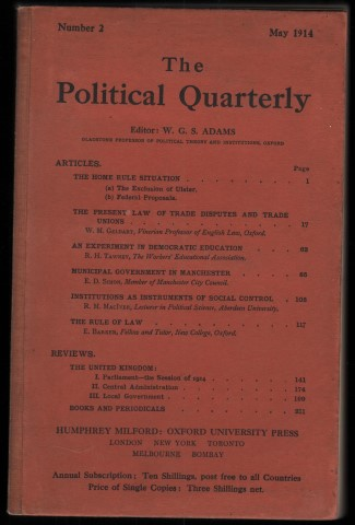Image for The Political Quarterly. Number 2. May 1914.