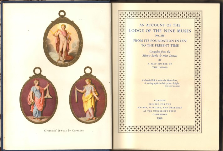 Image for An Account of the Lodge of the Nine Muses No.235 From Its Foundation in 1777 to the Present Time.