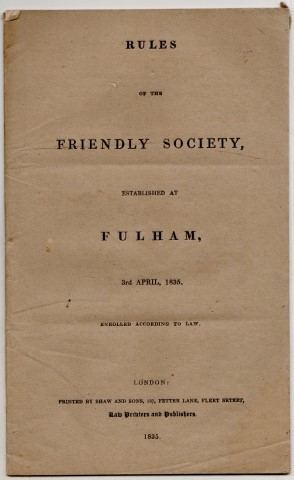 Image for Rules Of the Friendly Society, Established At Fulham, 3rd April, 1835. Enrolled According To Law.