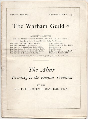 Image for Warham Guild Occasional Leaflets; No. 14.  The Altar  According to the English Tradition By The Rev. E. Hermitage Day, D.D., F.S.A.