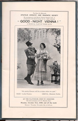 "Image for ""Good-Night Vienna !"" A Musical Play In Three Acts. At The Playhouse, Bury St. Edmunds Monday, October 31st, 1938, and all the week."