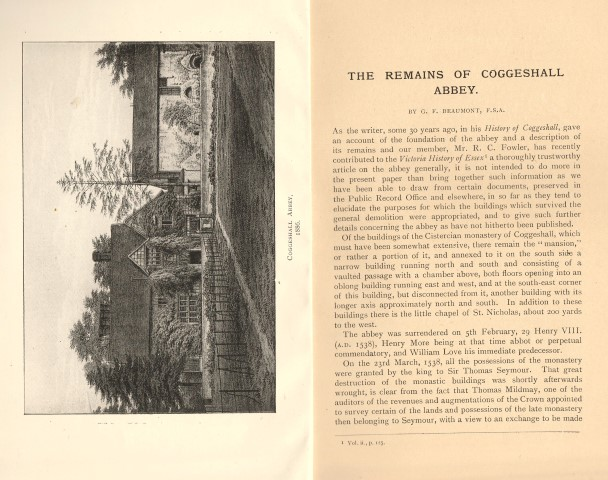 Image for The Remains Of Coggeshall Abbey. By G. F. Beaumont, F.S.A. Reprinted for the Transactions of the Essex Archaeol. Soc. Vol. XV. Part I.