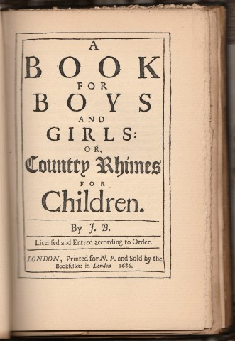 Image for A Book for Boys and Girls; Or, Country Rhymes for Children. By John Bunyan. Being A Facsimile Of The Unique First Edition, Published In 1686, Deposited In The British Museum. With And Introduction, Giving An Account Of The Work, By Rev. John Brown...