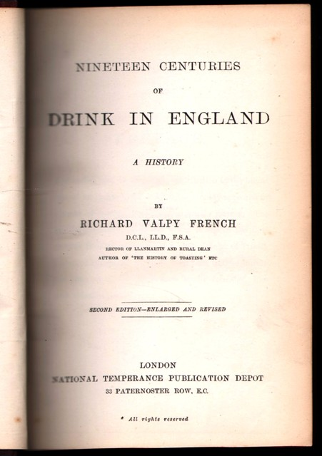 Image for Nineteen Centuries of Drink in England:  A History.  By Richard Valpy French .