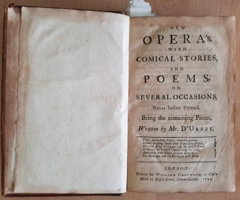 Image for New Opera's, With Comical Stories, And Poems, On Several Occasions, Never before Printed. Being the remaining Pieces Written by Mr. D'Urfey.