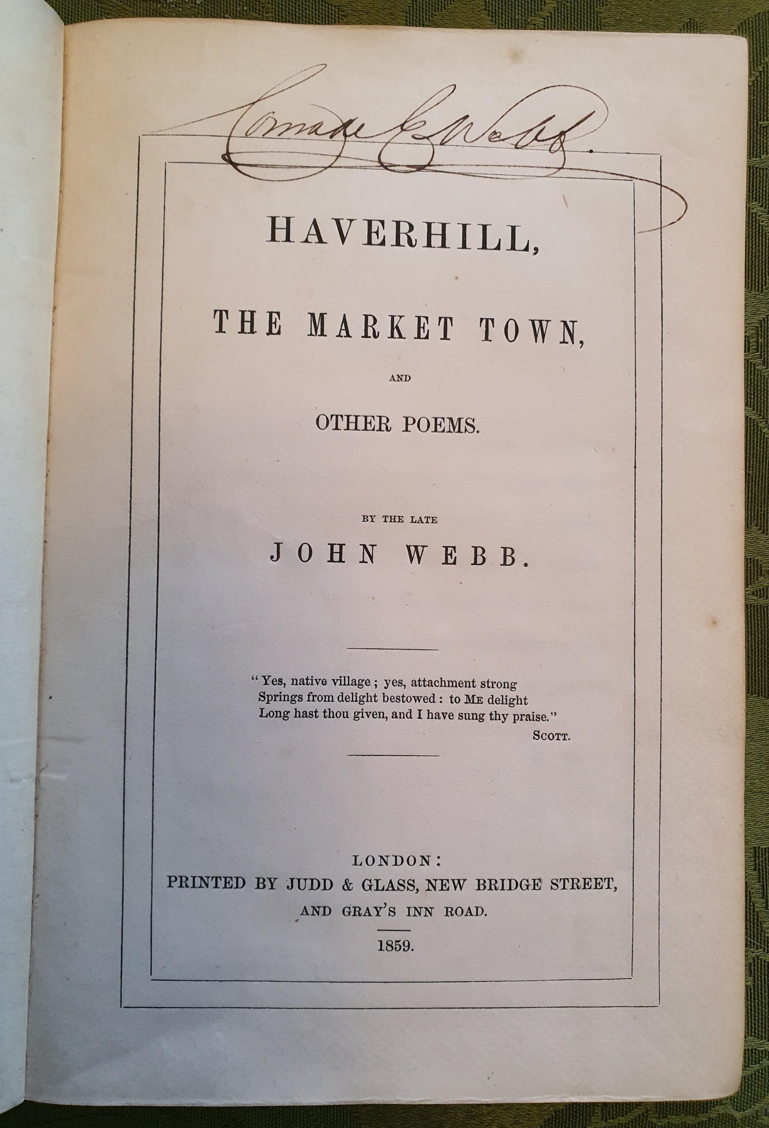 Image for Haverhill, The Market Town, And Other Poems. By The Late John Webb.