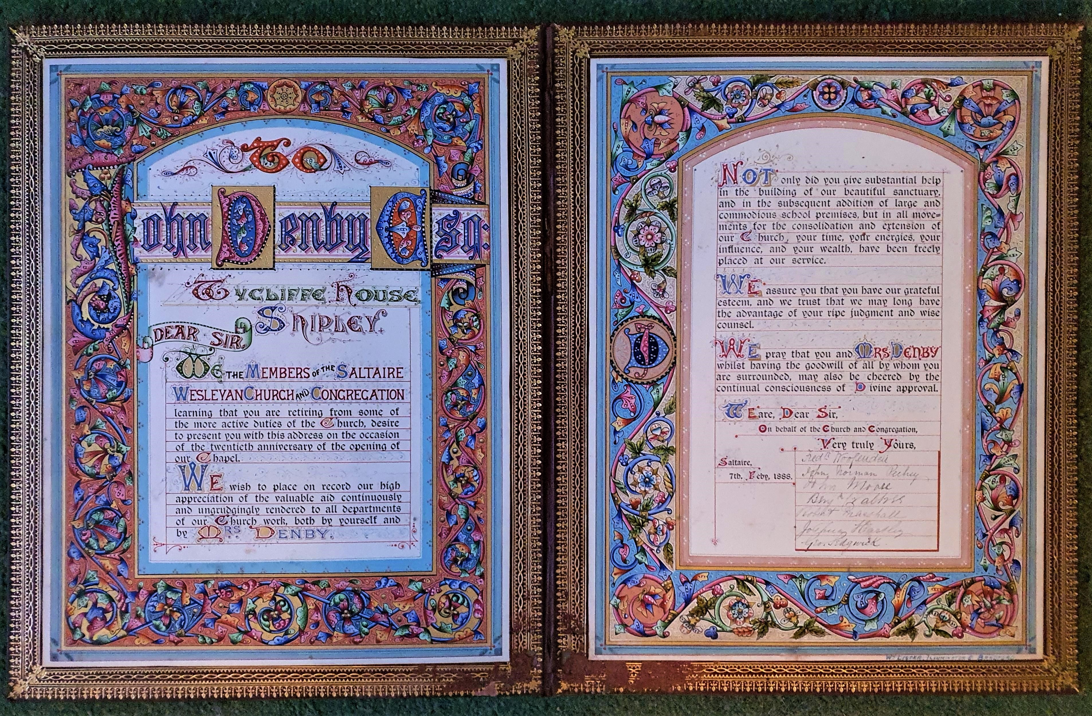 Image for Illuminated Manuscript Address to John Denby Esq. of Wycliffe House, Shipley, West Yorkshire.